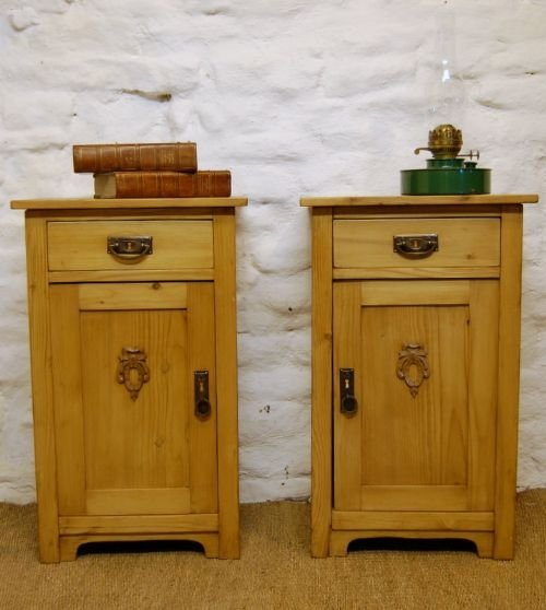 victorian pair of pine bedside cabinets side tables - Victorian Pair Of Pine Bedside Cabinets / Side Tables 100488 Www