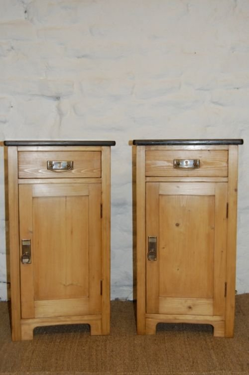 antique pair of pine bedside cabinets tables - Antique Pair Of Pine Bedside Cabinets /tables 110807 Www.cottage