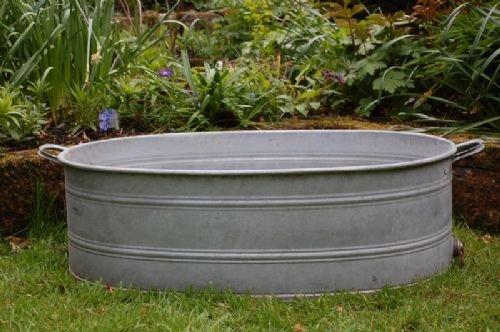 vintage galvanised bath planter