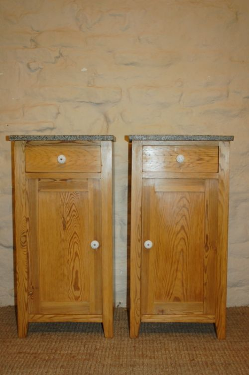 antique pair of pine bedside cabinets pot cupboards 1900 - Antique Pair Of Pine Bedside Cabinets / Pot Cupboards 1900 249292