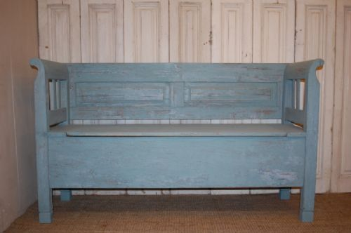 antique rustic farmhouse box settle bench
