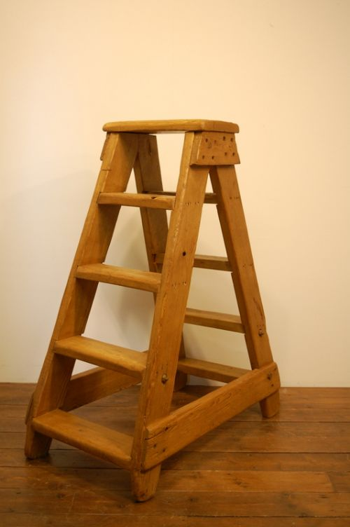 antique double sided mill pine step ladder 1880