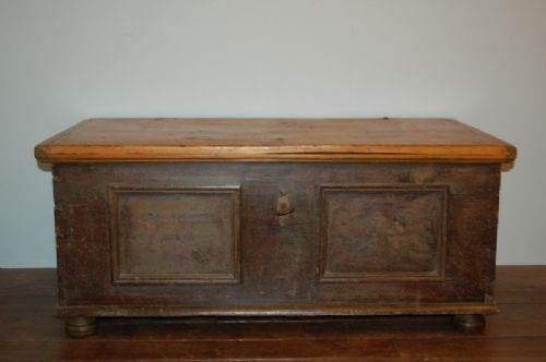 antique scandinavian pine dowry chest or blanket chest 1850 - Antique Scandinavian Pine Dowry Chest Or Blanket Chest 1850 493340