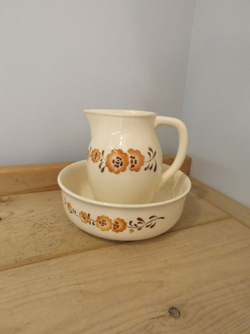 antique french art deco jug and bowl set decorative earthenware 1920