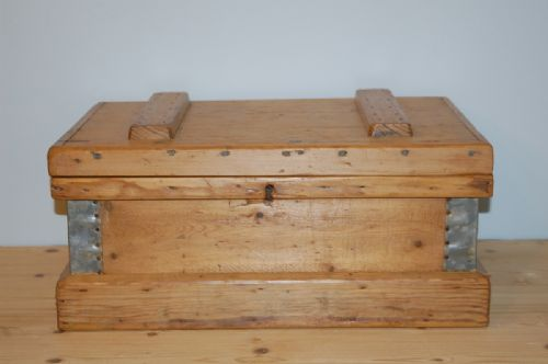victorian small size pine storage strong box chest 1880
