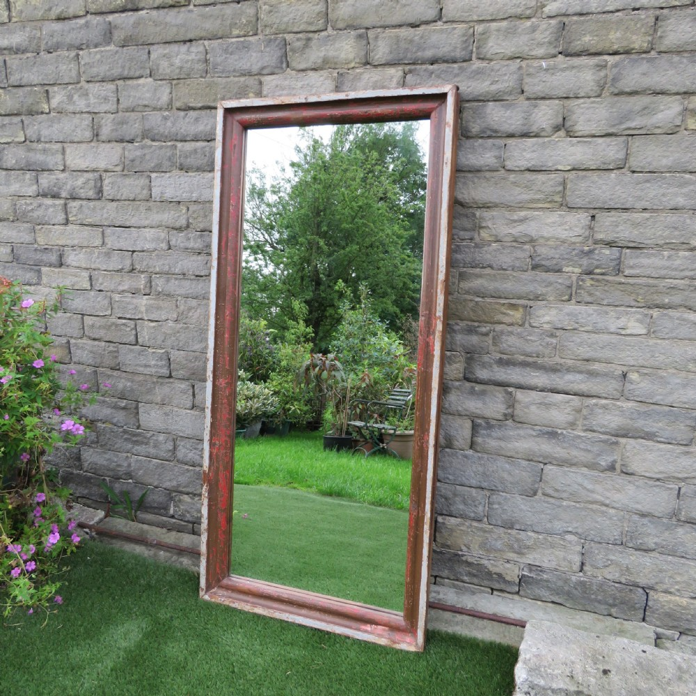 antique large free standing hall or dressing mirror in original paint 1860
