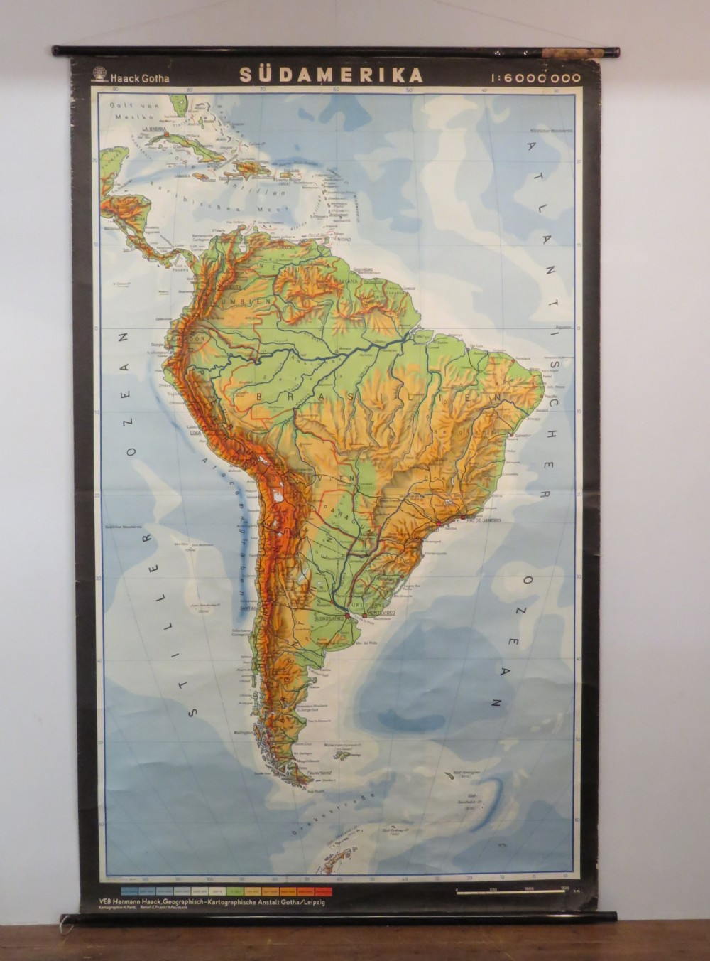 large and rare vintage canvas school roll up chart geographical south america 1960 t0 1970